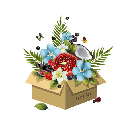 Image of fruits in a box on a white background. Realistic coconut, pomegranate, berries, figs, cherries, palm leaves and blue flowers.