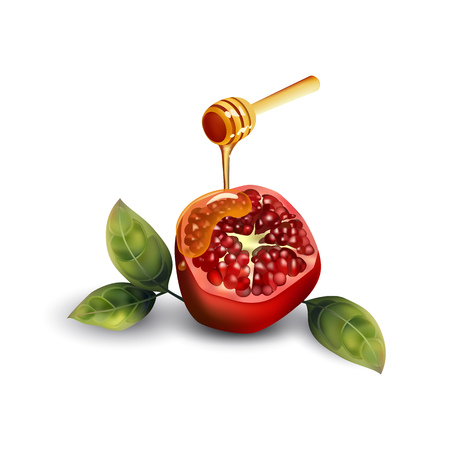 Pomegranate with a wooden spoon for honey. Pomegranate with leaves on a white background.