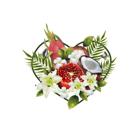 Pattern of fruit and flowers in the shape of a heart. Image of coconut, pitahai, pomegranate, fig, mangosteen, cherry, palm leaves and flowers in the shape of a heart.