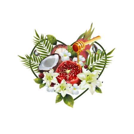 Pattern of fruit and flowers in the shape of a heart. Image of coconut, pitahai, pomegranate, fig, mangosteen, cherry, spoon of honey, palm leaves and flowers in the shape of a heart. Illustration
