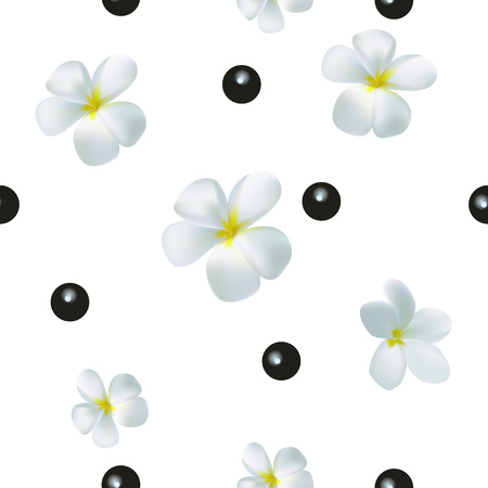 Seamless pattern with realistic flowers and berries on a white background. Illustration