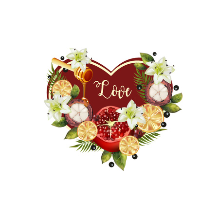 Pattern of fruit and flowers in the shape of a heart. Image of pomegranate, mangosteen, citrus, spoon of honey, palm leaves and flowers in the shape of a heart.
