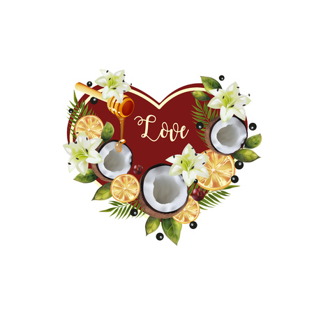 Pattern of fruit and flowers in the shape of a heart. Image of coconut, citrus, spoon of honey, palm leaves and flowers in the shape of a heart. Illustration