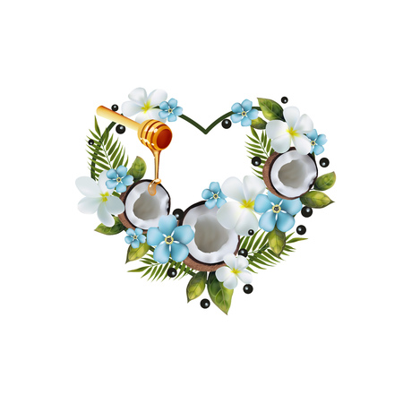Pattern of fruit and flowers in the shape of a heart. Image of coconut, pitahai, figs, cherries, palm leaves and flowers in the shape of a heart.