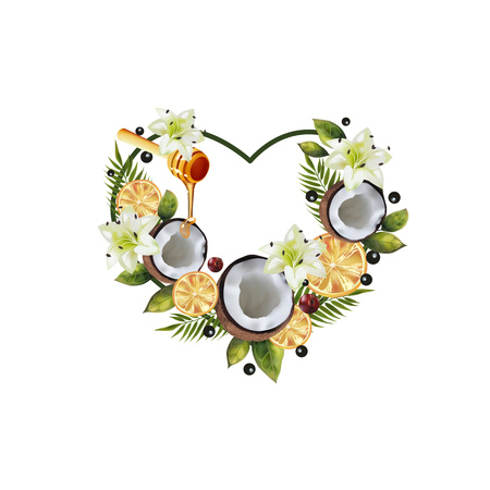 Pattern of fruit and flowers in the shape of a heart. Image of coconut, citrus, spoon of honey, palm leaves and flowers in the shape of a heart. 向量圖像