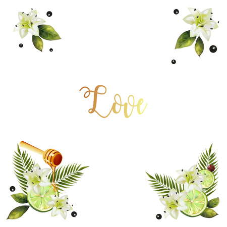 Background with a picture of lime and lilies. Postcard with text. The image of citrus with a spoon of honey. Background for your creativity.