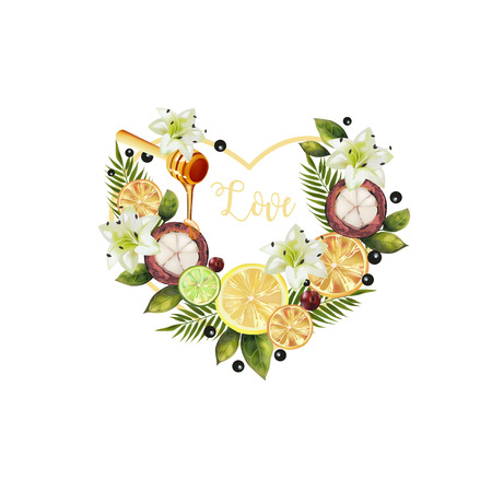 Valentine of fruits and flowers. Pattern of fruit and flowers in the shape of a heart. Image of citrus, mangosteen, spoon of honey, palm leaves and flowers in the shape of a heart.