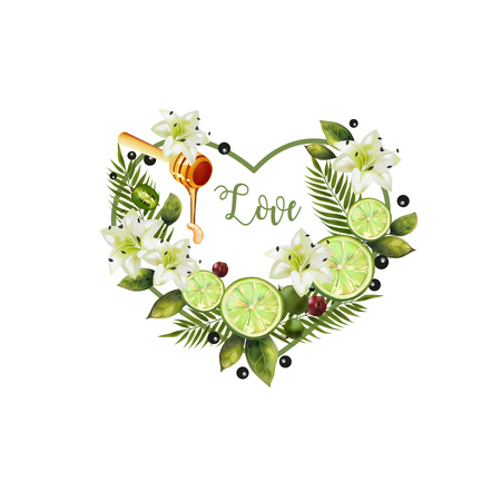 Valentine of fruits and flowers. Pattern of fruit and flowers in the shape of a heart. Image of citrus, spoon of honey, palm leaves and flowers in the shape of a heart.