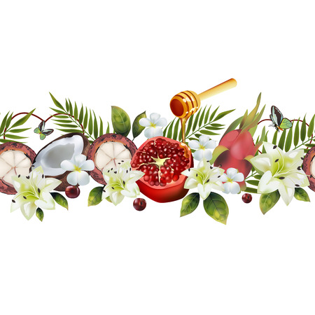 Realistic fruit seamless pattern. Image of coconut, pomegranate, mangosteen, pitahaya, a spoon of honey, flowers, palm leaves.