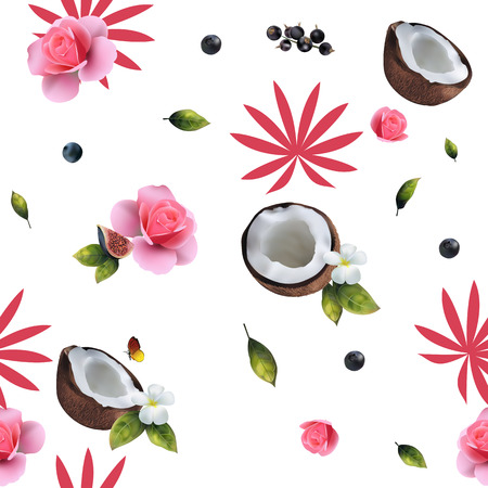 Seamless pattern of realistic coconut and pink flowers on a white background. Illustration