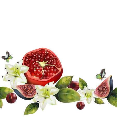 Seamless fruit pattern with pomegranate, figs, cherries and flowers. Realistic fruits decorated with lilies, green leaves and butterflies. Ilustração