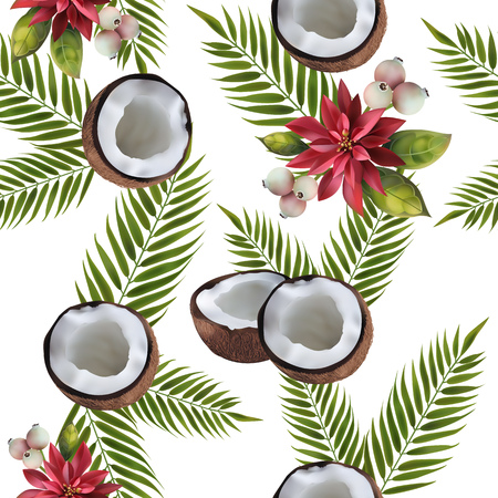 seamless pattern with the image of coconuts, n a white background decorated with red flowers and green leaves Illustration