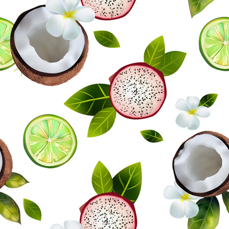 seamless pattern with the image of coconuts, pitahai, lime on a white background decorated with flowers and green leaves