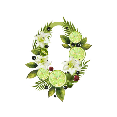 Digit Zero of realistic lime and flowers on a white background. The figure is decorated with lilies, palm leaves and cherries
