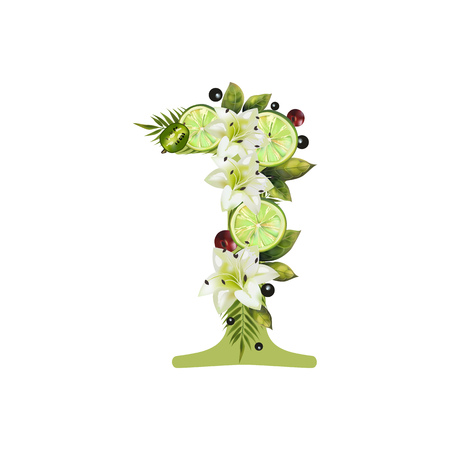 Digit One of realistic lime and flowers on a white background. The figure is decorated with lilies, palm leaves and cherries