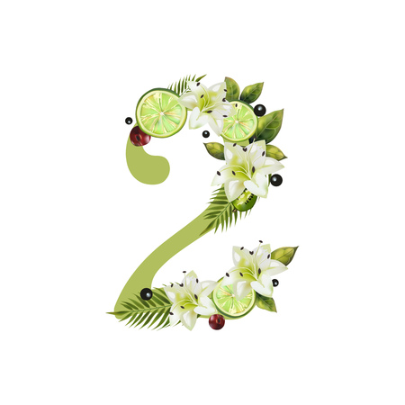 Digit Two of realistic lime and flowers on a white background. The figure is decorated with lilies, palm leaves and cherries Иллюстрация