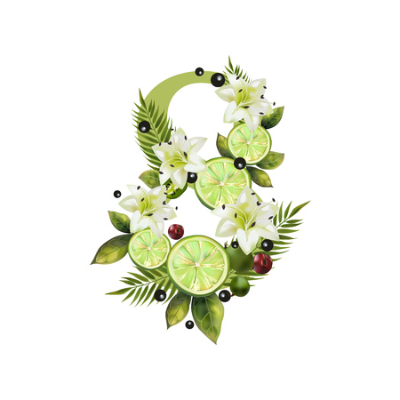 Digit Eight of realistic lime and flowers on a white background. The figure is decorated with lilies, palm leaves and cherries