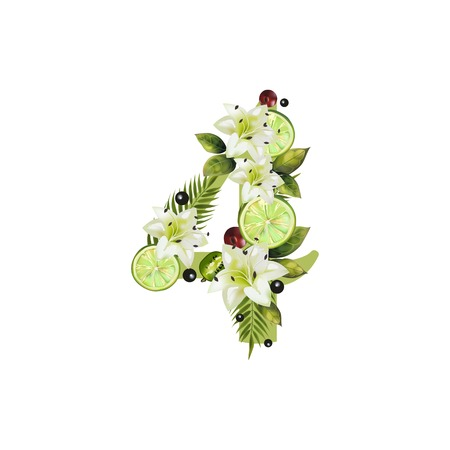Digit Four of realistic lime and flowers on a white background. The figure is decorated with lilies, palm leaves and cherries