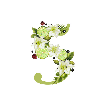 Digit Five of realistic lime and flowers on a white background. The figure is decorated with lilies, palm leaves and cherries