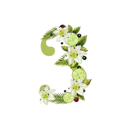 Digit Three of realistic lime and flowers on a white background. The figure is decorated with lilies, palm leaves and cherries