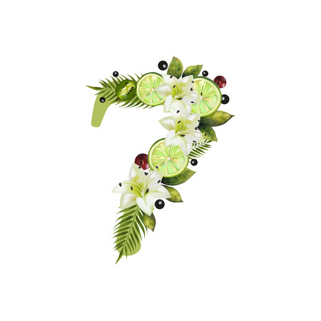 Digit Seven of realistic lime and flowers on a white background. The figure is decorated with lilies, palm leaves and cherries