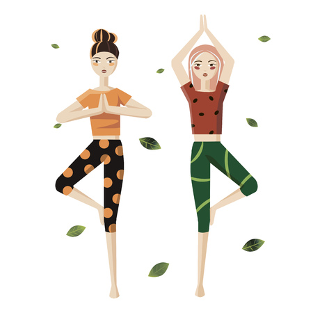 Two girls doing yoga on a white background. The element of yoga.