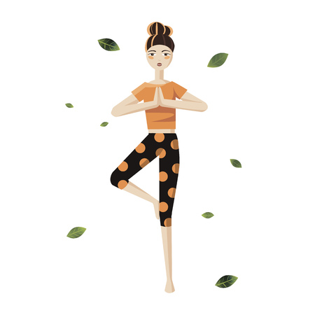 Girl doing yoga on a white background. A doll in an orange T-shirt and leggings standing in a yoga pose. The element of yoga.