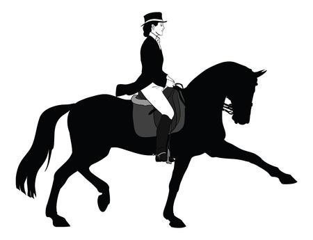 mujer en caballo: Silueta de mujer caballo doma cl�sica  Foto de archivo