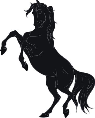 rearing: Cartoon black horse rearing up isolated