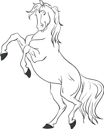 rearing: Cartoon white horse rearing up isolated