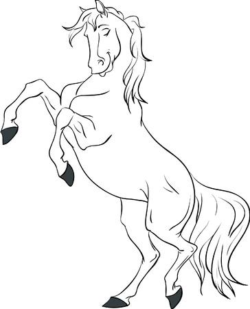 bay: Cartoon white horse rearing up isolated