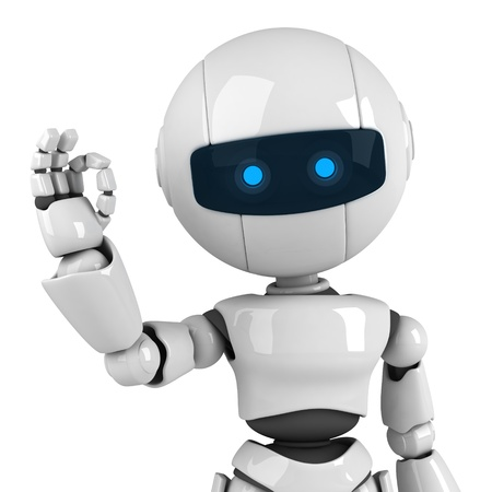 robot: Curioso robot blanco quedarse y firmar ok Foto de archivo
