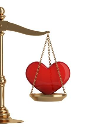 balance de la justice: �chelles d'or avec le coeur