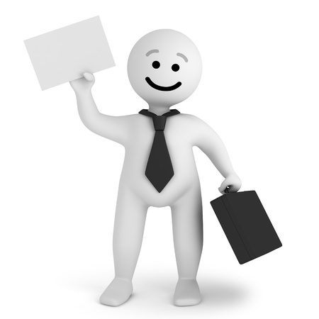 Funny smile character businessman with briefcase Stock Photo - 10065434