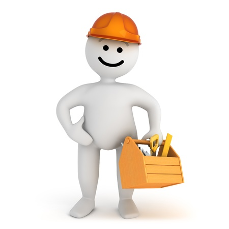Funny smile character worker with tools  photo