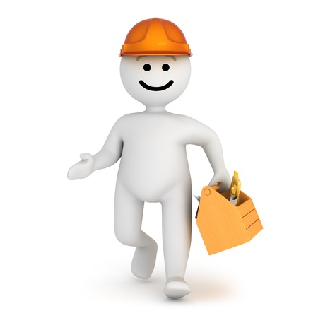 Funny smile character worker with tools Stock Photo - 10065274