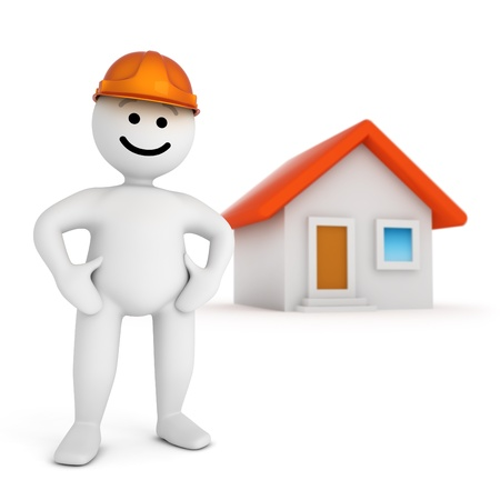 Funny smile character with house Stock Photo - 10065246