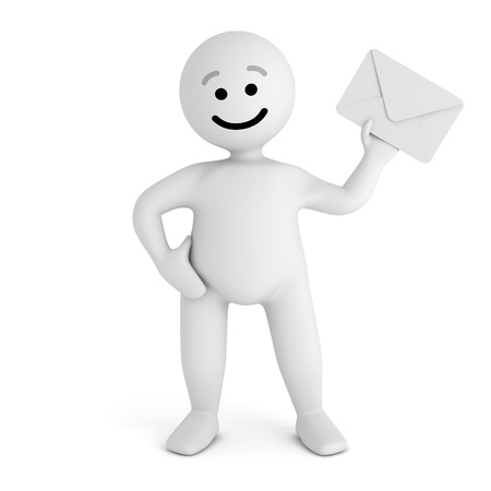 Funny smile character with mail  Stock Photo - 10065299