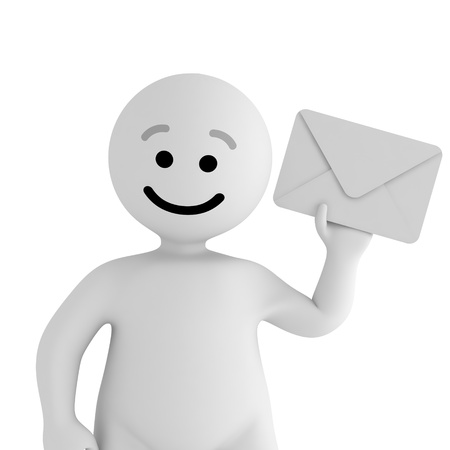 Funny smile character with mail Stock Photo - 10065443