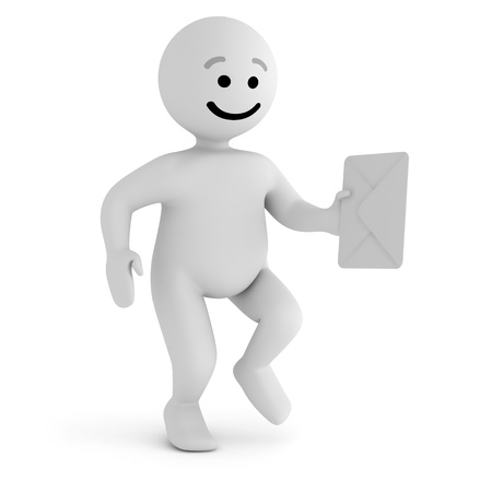 Funny smile character with mail Stock Photo - 10065302