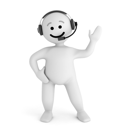 Funny smile character support with headphone photo