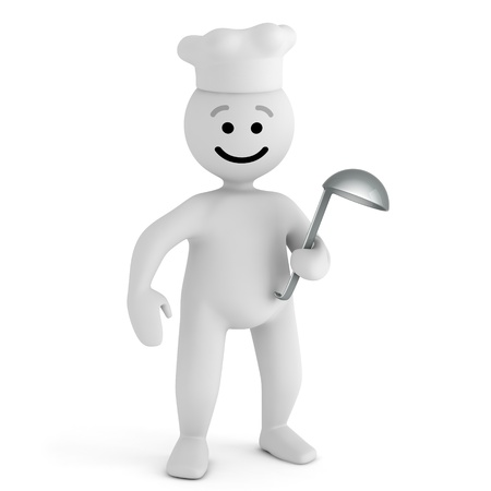 Funny smile character cook with spoon  photo