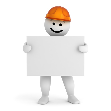 Funny smile character with blueprint Stock Photo - 10065340
