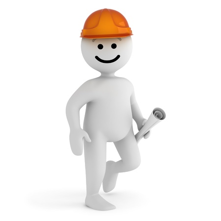 Funny smile character with blueprint and hard hat photo