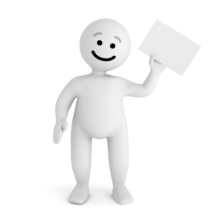 Funny smile character with blank paper  Stock Photo - 10065267