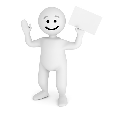Funny smile character with blank paper  Stock Photo - 10065290