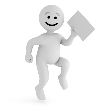 Funny smile character with blank paper Stock Photo - 10065279