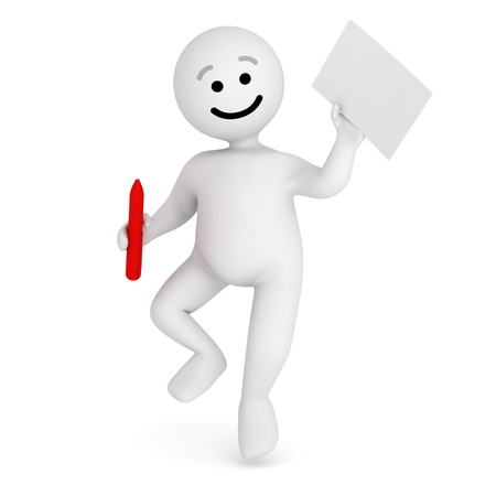Funny smile character jump with contract and pen  Stock Photo - 10065266
