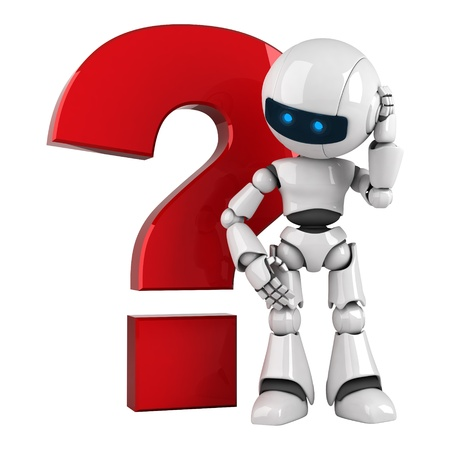Funny white robot stay with red question icon