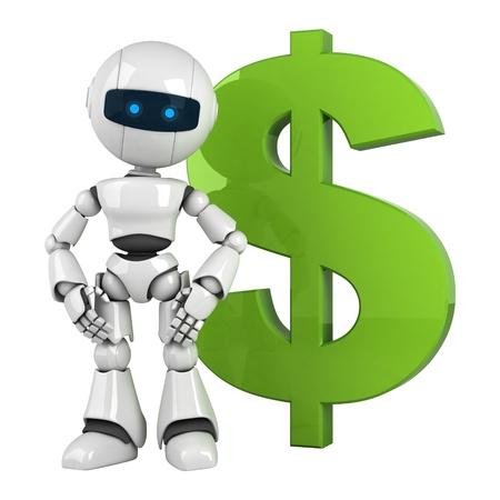 funny robot: Dr�le s�jour du robot blanc avec du dollar vert